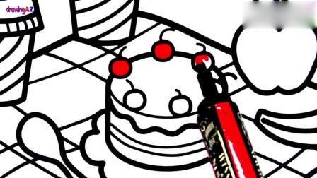 幼儿绘画: 绘画蛋糕, 苹果, 香蕉, 甜圈圈, 冰淇淋2杯咖啡并涂色