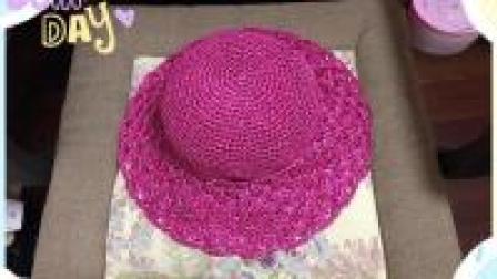 海滩淑女风, 怎能缺少遮阳的大草帽, 松结编棉草拉菲帽教程(三)