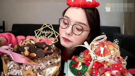 中国上海美女吃播, 吃生日蛋糕, 看着直流口水