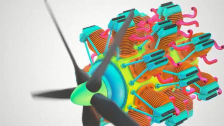径向发动机装配结构动画, 设计的很美观