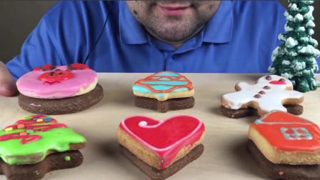 大胃王吃6种不同口味的圣诞节饼干