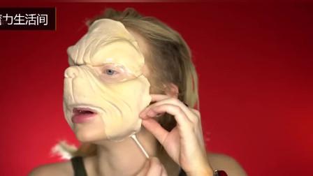 美女仿妆圣诞怪杰, 戴上模型涂抹绿色的颜料后, 网友: 大写的赞!
