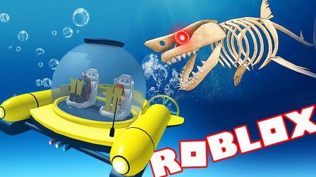 【屌德斯&小熙】 Roblox鲨鱼生存模拟器 开着潜水艇和骨鲨刚正面
