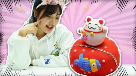 可爱的招财猫蛋糕食玩玩具, diy制作一款轻粘土蛋糕吧
