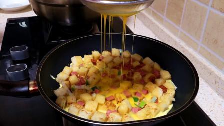 剩馒头创意新做法, 打2个鸡蛋, 简单一做, 秒变披萨, 孩子抢着吃