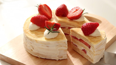 甜美爽口的草莓千层蛋糕, 享受不同层次的绝妙口感