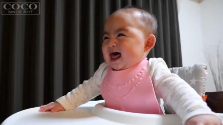 小宝宝刚断奶, 食欲大增, 每次吃饭都等不及的样子, 见到吃的就乐
