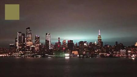 美国纽约, 电厂发生大爆炸, 天空闪烁魔幻蓝光, 机场停电关闭!