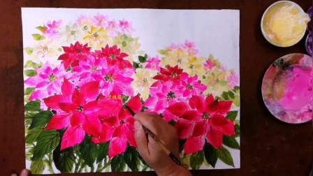 中国画视频教程, 大色块小笔触画出圣诞红