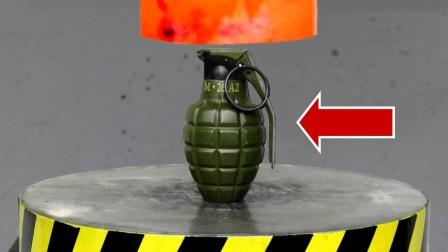 老外实验: 用烧红一千度的液压机碾压手榴弹, 会产生怎样的火花呢?