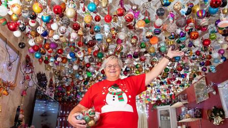 英国老奶奶爱好圣诞装扮, 收集2000个圣诞彩灯, 价值超过13万元!