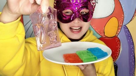 """妹子试吃""""兰花果冻"""", 多色多味漂亮又好吃, 创意甜点超赞"""