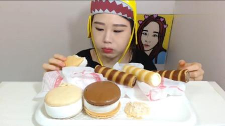 韩国大胃王卡妹吃播: 蛋白杏仁饼干