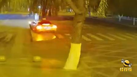 山东济南  酒驾逆行打电话 一头撞在大树上