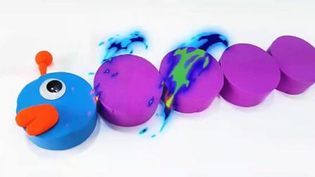 儿童玩具彩色太空沙制作毛毛虫吃水果学颜色学英语