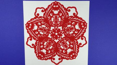 寿桃剪纸, 寿字与桃子组合配上牡丹花, 表达了人们希望长寿的心理
