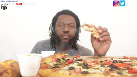 小黑哥吃播 吃Domino披萨 留学生最爱的披萨  未说话版