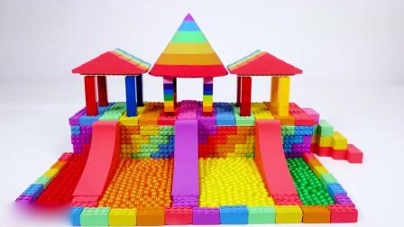 幼儿益智玩具: 用动感沙与珠子DIY游乐场滑梯玩具学习颜色