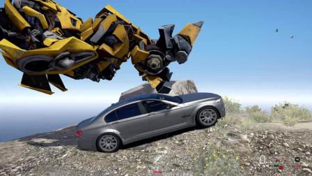 [走走云游戏GTA5], 变形金刚大黄蜂驾驶宝马车从山顶滚下去, 掉进大海里