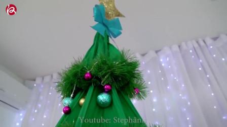小姐姐教你如何用雨伞DIY别具一格的圣诞树2