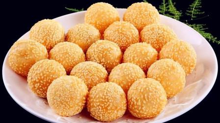 糯米粉好吃不腻的做法, 简单一炸, 做出香甜酥脆、个个空心芝麻球