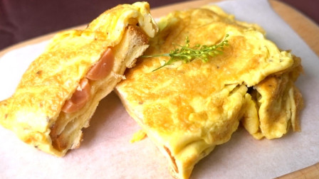 一块吐司, 两个鸡蛋, 教你做简单美味的蛋包吐司, 太香了