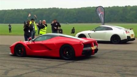 法拉利和日产GTR赛道拼直线, 5000万跑车竟然输给100万的?