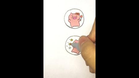 猪猪简笔画, 非常适合做情侣头像, 可爱简单, 你也可以做到