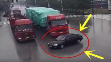 小黑轿车司机作死闯红灯, 下一秒可真付出了惨痛的代价