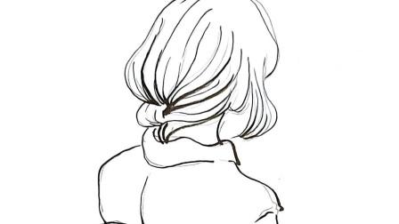 卡通动漫人物: 女孩背影简笔画