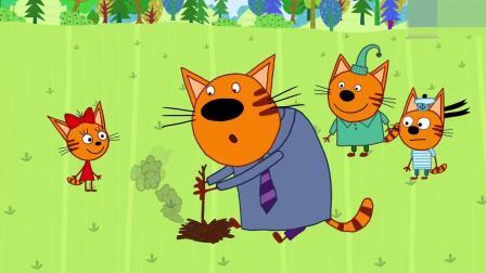 猫爸爸用树枝钻木取火,饼干糖果和布丁帮爸爸一起吹气!
