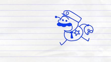 推铅笔的纽扣! 儿童按钮式胭脂-铅笔画卡通