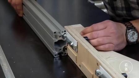 木工台锯男子这样改进一下, 切割木头尺寸更加精准了