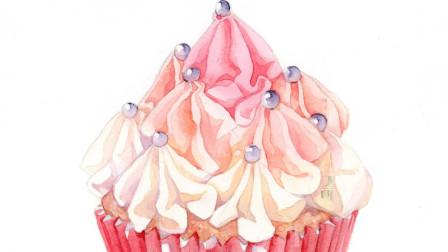 水彩粉色蛋糕小甜点