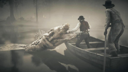 【醉酒】荒野大镖客: 救赎2 命悬一线夜探沼泽短吻鳄, 成精的巨型鳄鱼凶猛无比!