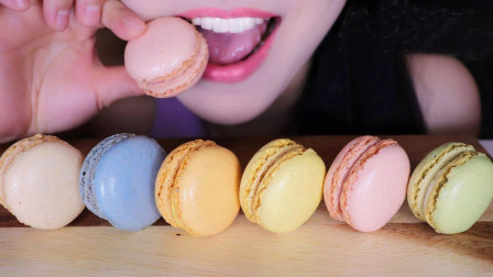 小姐姐吃6种口味的马卡龙, 最喜欢芒果口味, 网友: 为何如此流行?