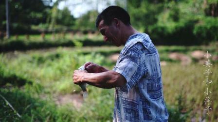 谷子打完了添道菜, 大哥拿起竹竿钓鱼, 谷桩鱼收获了不少