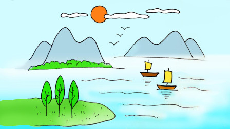 亲子卡通简笔画 学画漂亮的山水风景画, 简单好画