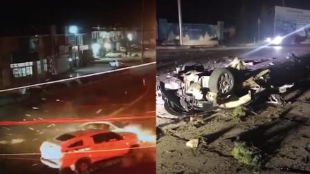 """惨! 山东威海一轿车失控冲红灯 与车辆相撞遭""""肢解""""!"""