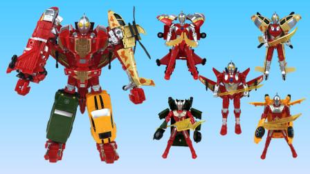 超酷的咸蛋超人五合体变形机甲玩具