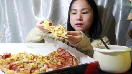 就是气气吃播: 12寸双拼披萨, 银耳莲子羹