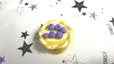创意DIY粘土制作教程, 小姐姐教你做蓝莓蛋挞, 快快收藏起来吧