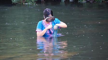 摸螺蛳的乐趣! 秋子下水带你探寻水底世界, 看不一样的视野
