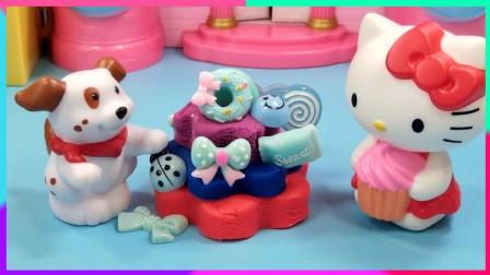 灵犀小乐园之美食小能手 凯蒂猫给狗狗制作蛋糕,有多种糖果