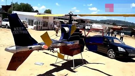 实拍牛人发明的简易直升机, 第一次试飞失败了