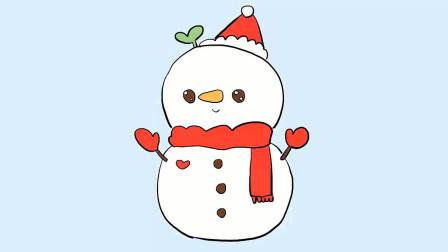 一分钟学会画一个可爱的圣诞雪人简笔画