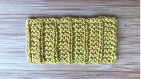 简洁大方的竖纹花样,上下针编织,正反面花样一样,适合织围巾钩织方法视频教程