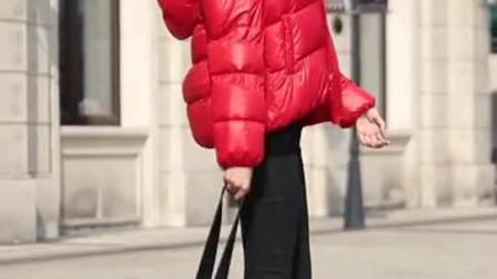 杭州美女街拍, 小姐姐颜值太高了, 穿着羽绒服也不能遮住她的美