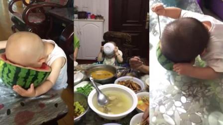 熊孩子们吃食物, 配上猪八戒吃西瓜的音乐, 真的太形象了!