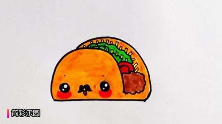 可爱的夹心面包简笔画  亲子儿童绘画  画一块美味的面包并涂上色彩
